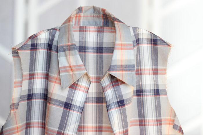 台衿付きシャツカラー 柄を合わせる